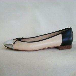 J. CREW cap toe beige silver black flats